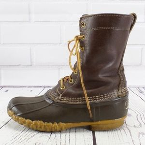 LL Bean Vintage Brown Leather Duck Boots Size 7
